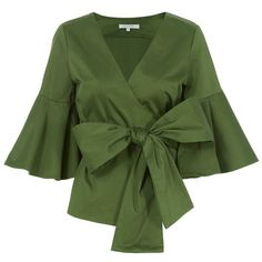 Alexis Women's Kiera Poplin Wrap Top ($298) ❤ liked on Polyvore featuring tops, green shirt, v neck long sleeve shirt, v-neck tops, olive green long sleeve shirt and army green shirts
