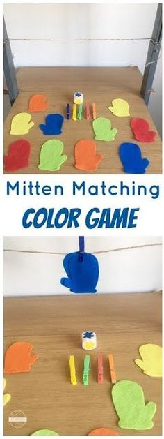 Mitten matching Color Game - this is such a fun winter themed activity to help kids practice identifying colors in toddler, preschool, and kindergarten. Winter Activities For Toddlers, Winter Crafts For Kids, Color Games For Toddlers, Montessori Activities, Infant Activities, Color Activities Kindergarten, Motor Activities, Toddler Classroom, Toddler Preschool