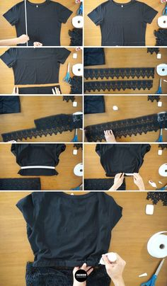 These step by step tutorials is amazing! Make a diy no sew t-shirt reconstruction with lace trim as peplum tees. #DIY #upcycle #refashion #nosew #tshirt #anthropologie #casual #backtoschool #tee #style #ootd #easy