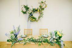 今まで出会った方との「縁」に感謝したく、 Flower Chandelier, Back Photos, Wedding Decorations, Table Decorations, Love Ring, Wedding Coordinator, Photo Booth, Table Settings, Bride
