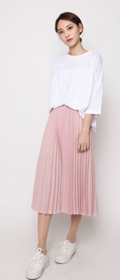 52 Ideas fashion asian casual skirts for 2019 Nude Skirt, Pink Pleated Skirt, Blush Skirt, Asian Fashion, Trendy Fashion, Spring Fashion, India Fashion, Grunge Fashion, Street Fashion