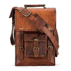 Handmade Leather Crossbody satchel shoulder Messenger briefcase ipad bag 13 inch mens womens