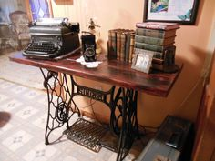end table made from antique sewing machine | Table I made with old Singer sewing machine stand!