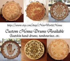 Custom Henna Drum Order (Do Not Buy This Listing)  goat skin henna tambourine mehndi drum on Etsy, $40.00