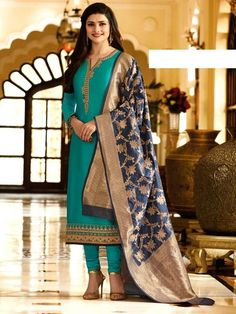 Add grace and charm on your appearance in this gorgeous churidar salwar suit. Highlighting designer blue georgette churidar salwar suit comes with matching blue color banarasi Jacquard set.The ethnic embroidered work. It Comes with matching blue Dupatta, Churidar Suits, Patiala Salwar, Anarkali Suits, Georgette Fabric, Silk Dupatta, Silk Kurti, Ethnic Fashion, Indian Fashion, Bollywood Suits