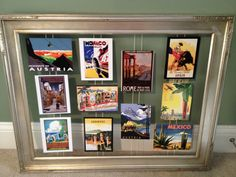 Matchbox, match packet, magnet or postcard display idea Postcard Display, Framed Postcards, Art And Illustration, Photo Displays, Card Displays, Travel Wall, Diy Bedroom Decor, Projects To Try, Poster