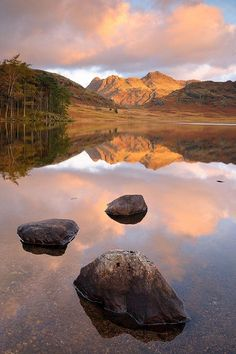 The Langdale Pikes reflect in the still waters at Blea Tarn, English Lake District. Cumbria, Lake District, Beautiful World, Beautiful Places, Beautiful Scenery, English Countryside, Landscape Photographers, Nature Photos, Amazing Nature