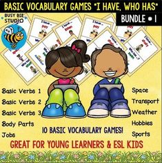 """My ESL kids love vocabulary games. Save 35 % by purchasing this bundle. There are 10 sets here: 1.ESL Newcomer Vocabulary Game : Basic Verbs (set 1) """"I have, who has?"""" This game """"I have, who has""""  is concentrated on 19 basic verbs. There are 2 versions of the game: the first one is for beginners (the cards have pictures and words)."""