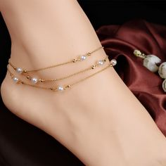 bracelet cheville halhal foot chain pearl copper bead anklets for women foot jewelry bracelet boho barefoot sandals Ankle Jewelry, Cute Jewelry, Body Jewelry, Women Jewelry, Fashion Jewelry, Beach Jewelry, Tassel Jewelry, Tassel Earrings, Fashion Earrings