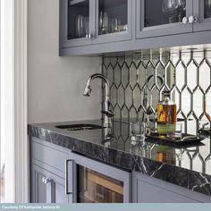 Inspire Me Home Decor, Home Wet Bar, Bars For Home, Mirror Backsplash Kitchen, Antique Mirror Tiles, Antique Glass, Antiqued Mirror, Bar Tile, Kitchen Decor