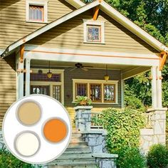 Historic Color Palette: Bungalow    This simple house style from the first third of the 20th century is characterized by bold trim and architectural details, such as eaves brackets. At the time, body colors tended to be muted autumnal shades of brown, green, and gray.    Similar to shown: Thomas Point Light (siding), Antique White (trim), and Peach Clay (windows and brackets) in Glidden Exterior; about $20$40 per gallon; Glidden