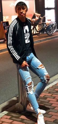 Master and Slave Superenge Jeans, Boys Jeans, Slim Pants, Ripped Skinny Jeans, Asian Boys, Beautiful Men, Hot Guys, Tights, Sporty