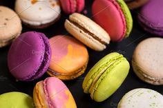 Assorted colourful macarons. Food & Drink Photos