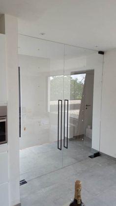 Glass Wall Design, Door Design, House Design, Sliding Glass Door, Glass Doors, Tempered Glass Door, Glass Front Cabinets, Elegant Kitchens, Dream House Exterior