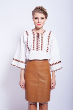 #vintage #romanianblouse #romanianlabel Bell Sleeves, Bell Sleeve Top, Unique Vintage, Leather Skirt, Skirts, Blouses, Traditional, Tops, Women