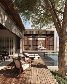 Concrete Architecture, Tropical Architecture, Interior Architecture, Dream Home Design, Home Interior Design, House Design, Modern Tropical House, Casa Cook, Backyard