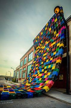 CourtePointe(quilt)art installation 2012, by Philippe Allard and Justin Duchesnea used milk crates