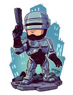 Robocop (by Derek Laufman) Marvel Drawings, Cartoon Drawings, Cartoon Art, Chibi Marvel, Marvel Art, Chibi Superhero, Character Art, Character Design, Marvel Cartoons