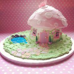 Giant cupcake 'fairy mushroom' cake Vanilla bean sponge with vanilla frosting, everything is edible