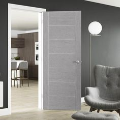 Internal Doors - Glazed, Panel, Wooden, Oak - Direct Doors UK – Page 4 Grey Internal Doors, Grey Doors, Door Design Interior, Modern Interior Doors, Modern Door, Solid Oak Doors, Flush Doors, Door Fittings, Bedroom Doors