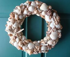 Image detail for -Seashell Wreath Coastal Beach Cottage Decor Nautical House Decor