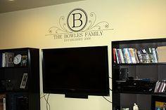 Monogram for Family Room.  Cute idea!