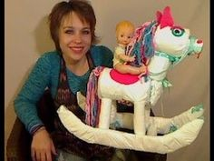 "An Adorable creation for display at any baby shower! This diaper rocking horse ""how to"" video is easy to follow, uses basic supplies that are readily available. A super fun project and inexpensive!  [ PartyTimeBaby.com ]"
