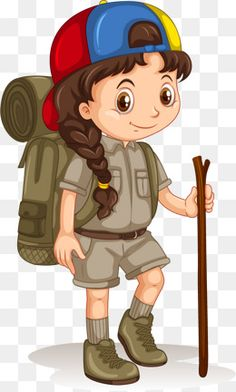 vector painted camping girl, Vector, Hand Painted, Camping Girl PNG and Vector Jungle Theme Classroom, Love Cartoon Couple, School Murals, Scout Camping, Girl Clipart, Creative Poster Design, Exhibition, Camping Theme, Girl Guides