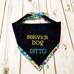 Service Dog Therapy Dog Bandana. Custom monogram.