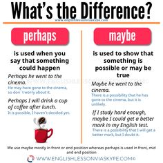 Learn English 529595237431333806 - Common Mistakes in English. PERHAPS vs MAYBE. Learn how to stop making mistakes in English. Source by Farfallaetmedea English Learning Spoken, Teaching English Grammar, English Vocabulary Words, English Language Learning, Education English, Teaching Spanish, Spanish Language, French Language, English Idioms