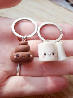 Poop and toilet paper friendship keychain clay charms best friend keychain best friend necklace friendship keychain bff keychain Fimo Kawaii, Polymer Clay Kawaii, Polymer Clay Charms, Handmade Polymer Clay, Polymer Clay Jewelry, Polymer Clay Miniatures, Polymer Clay Projects, Clay Crafts, Clay Keychain