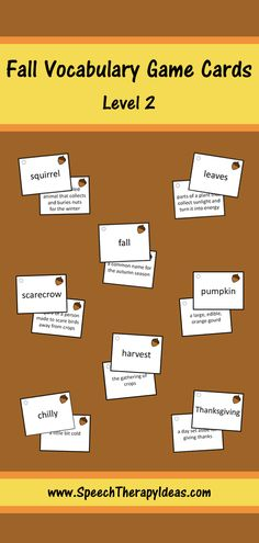 These updated fall vocabulary cards are a great way to practice matching the vocabulary words to their definitions. These mid-level words are the same ones used in the level 2 fall bingo game and the level 2 fall vocabulary worksheets, which can be used as pretests and/or post-tests.  Game ideas and instructions, 24 word cards, and 24 definition cards are included. Vocabulary Games, Vocabulary Worksheets, Vocabulary Words, Speech Therapy Games, Therapy Activities, Therapy Ideas, Game Ideas, Speech And Language, Reading Comprehension