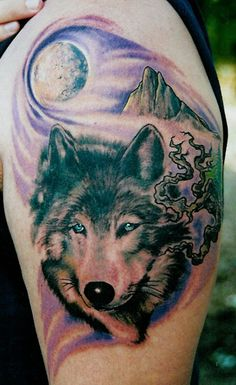 Wolf and moon tattoo - 50 Examples of Moon Tattoos <3 !