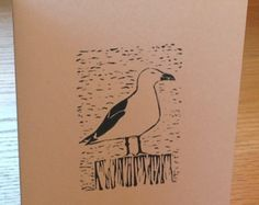 Gull linocut block print card