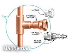 Blow-out system - when adding a faucet out in the yard. Blow out the PEX supply line dry in cold weather with a compressor. Install a blow-out valve at the other end of the run of pipe to drain the water. Plumbing Installation, Pex Tubing, Faucet Repair, Home Fix, Water Faucet, Home Repairs, Outdoor Projects, Home Improvement, Cold Weather