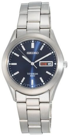 Seiko Men's SGG709 Titanium Case and Bracelet Watch Seiko. $110.21. Water-resistant to 165 feet (50 M). mid-night blue dial. Titanium case; blue dial; day-and-date functions. Quality Japanese-quartz movement. Strong Hardlex crystal protects case from scratches and scrapes