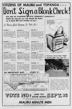 Flyer mailed to box holders in Malibu and Topanga by the Malibu Minute Men urging voters to reject the establishment of Los Angeles County Waterworks District no. 29 in the September 15, 1959 election. Topanga Historical Society, San Fernando Valley History Digital Library.