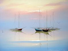 Landscaping watercolor boat Ideas for 2020 Seascape Paintings, Landscape Paintings, Watercolor Landscape, Watercolor Paintings, Watercolour, Sailboat Painting, Boat Art, Pastel Art, Painting Inspiration