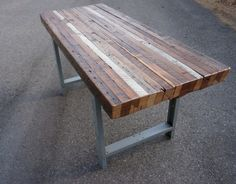 Reclaimed Wood Dining Table And Double Metal Table Legs : Wood ...