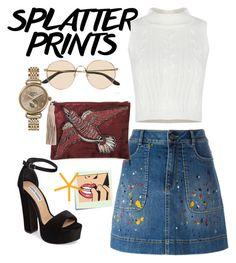 """Splatter prints"" by dianka-bernathova ❤ liked on Polyvore featuring Alice + Olivia, The Row, Steve Madden, Shinola, Post-It and Sam Edelman"
