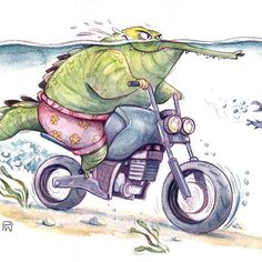 I tried to aquarell! 😁 . . . #characterdesign #crocodile #alligator #croco #animaldrawing #children_illustration #motorbikedrawing #moto #motorcycle #motorcyclesketch #motorbike #riding #pencil #watercolor #polychromos #coloredpencils #colerase #prismacolor #aquarell #sketchbook #illustration #animalillustration