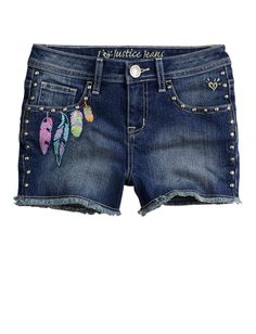 Girls Clothing | Shorties 2½ Inseam | Embellished Feather Denim Short | Shop Justice