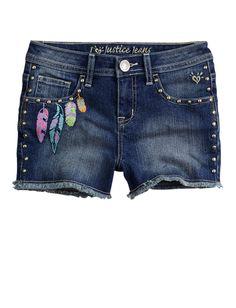 Girls Clothing | Shorties 2½ Inseam | Embellished Feather Denim Short | Shop Justice