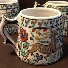 Vintage Set of 3 IKAROS Pottery Rhodes Greece Vibrant Deer/Floral/Ship N7 Bright