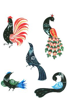 Gorodetz-Russian folk painting (traditional birds painting)