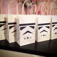 We're being invaded!   Quick template cut on the #silhouettecameo, a #Sharpie, some white gift bags and we have our self an army of #StormTroopers for the upcoming #StarWarsBirthday! . #papercraft #AndreaDawnParties #supportlocal #silhouetteamerica #partyplanner #partyfavors #yeg #yegmakers #yegmoms #birthdayfavors