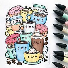 'Kawaii Coffee' free colouring page