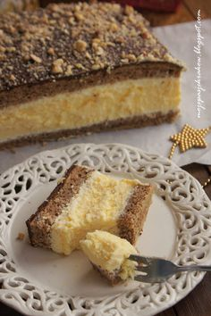 my passions: Cheesecake-walnut - walnut sponge cake cheesecake Polish Desserts, Polish Recipes, Polish Food, Delicious Desserts, Dessert Recipes, Yummy Food, Dessert Bread, Dessert Bars, Lemon Cheesecake Recipes
