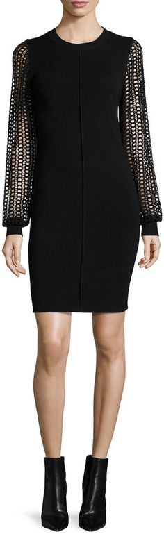 See by Chloe Knit Dress with Lace Sleeves, Black