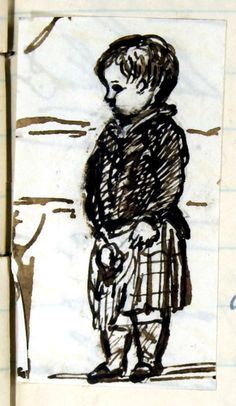 Princess Louise dressed as a Highlander: pen and ink sketch by Queen Victoria, Tuesday 18th December 1849